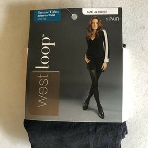 West Loop black opaque tights - size XL - NEW